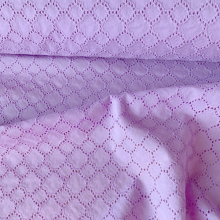 "Remnant Lilac broderie anglaise cotton fabric ""Diamond"" 77 cm x 140 cm"