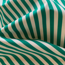 Remnant Green and white striped cotton fabric SAINT BRIAC 80 cm x 150 cm