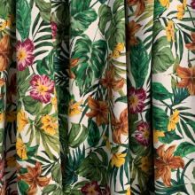 Remnant Tropical Cotton sateen fabric 30 cm x 130 cm