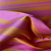 Striped Cotton Jacquard fabric orange and pink