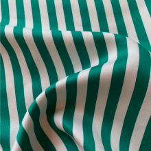 Green and white striped cotton fabric SAINT BRIAC