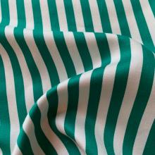 Green and white striped cotton fabric SAINT BRIAC
