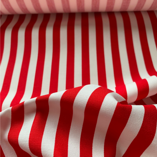 Red and white striped cotton fabric LE CROISIC