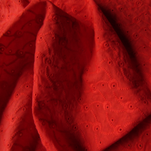 "Carmine Red Broderie Anglaise ""Volutes"""