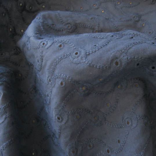 "Dark blue Broderie Anglaise ""Volutes"""