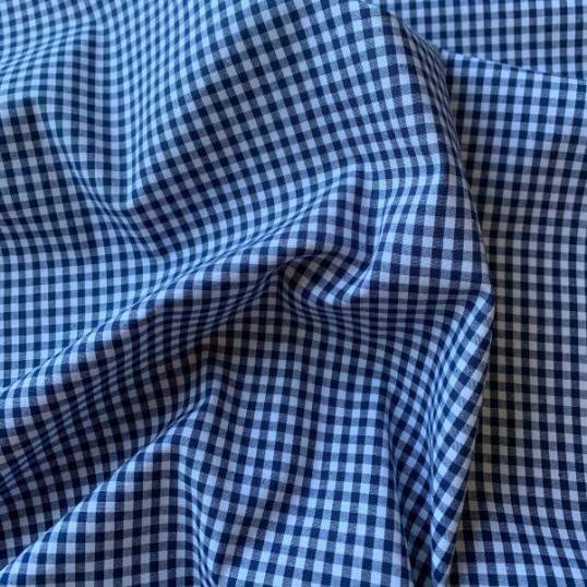 Dark blue gingham Cotton fabric
