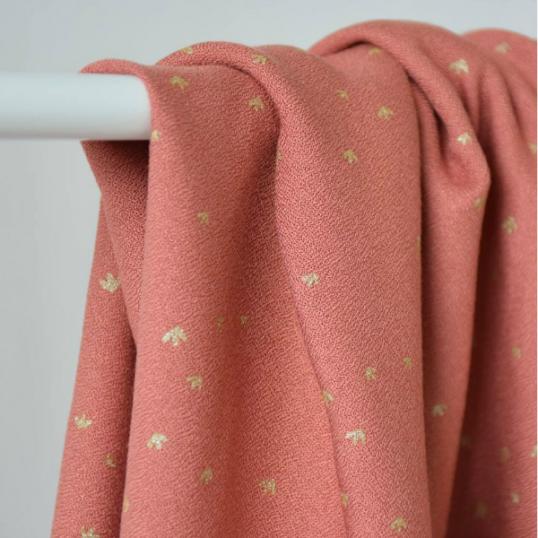 Viscose Crepe Fabric Golden Flowers Eglantine