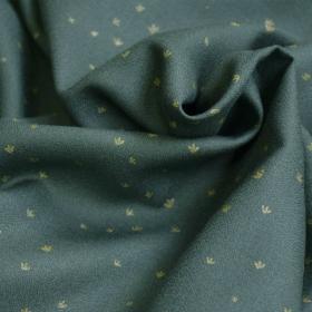 Viscose Crepe Fabric Golden Flowers Smoke Green