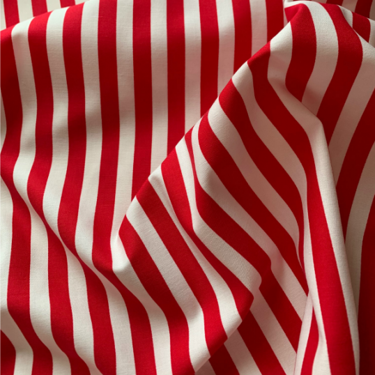 Remnant Red and white striped cotton fabric LE CROISIC  76 cm x 150 cm