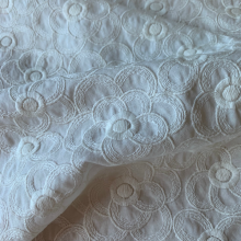 Embroidered Cotton Off white Flowers