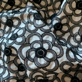 Embroidered Cotton Black Flowers