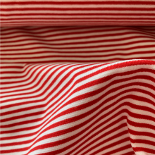 Red and white Striped Cotton Jersey fabric