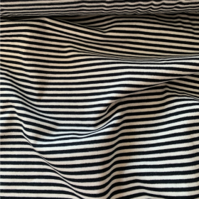 Black and White Striped Cotton Jersey fabric