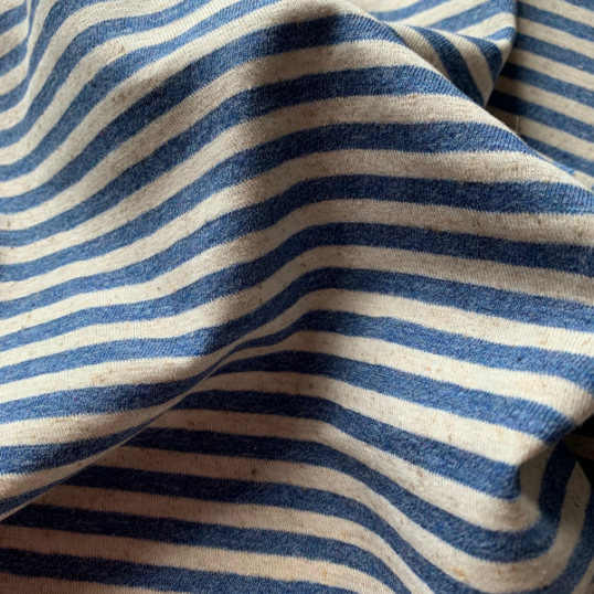 Blue Jeans and Off White Striped Cotton and Linen Jersey fabric