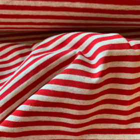 Red and Off White Striped Cotton and Linen Jersey fabric