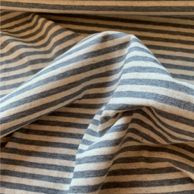 Grey and Off White Striped Cotton and Linen Jersey fabric