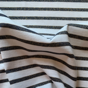 Black and White Striped Cotton Jersey fabric with golden lurex