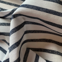 Blue and White Striped Cotton Jersey fabric with silvered lurex