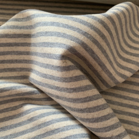 Grey and Off white striped French terry knit fabric