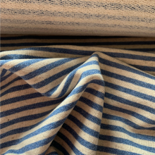 Blue jeans and Off white striped French terry knit fabric
