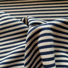 Dark Bue and Off white striped French terry knit fabric