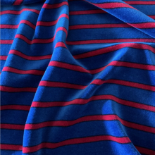 Chenille Jersey cotton fabric blue & red stripes