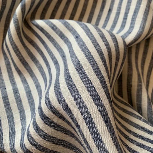 Dark blue and Off white Striped Linen