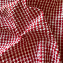 Red and white Vichy Seersucker