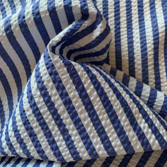 Blue and white striped Seersucker