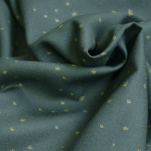 Remnant Viscose Crepe Fabric Golden Flowers Smoke Green 24 CM X 138 CM