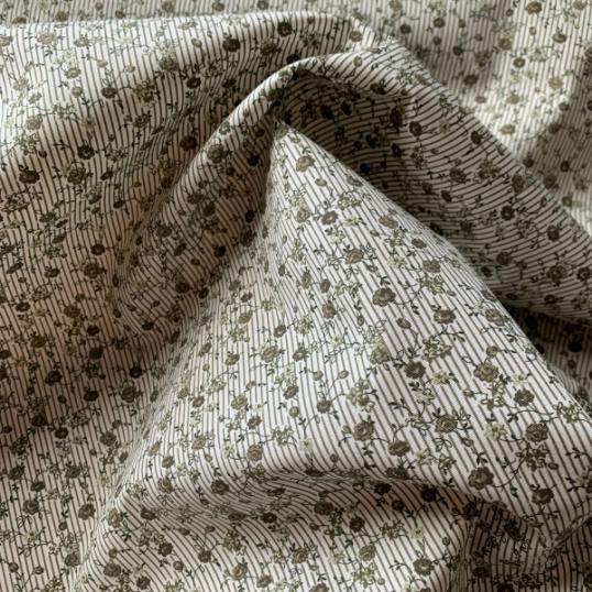 Floral and striped Khaki Cotton