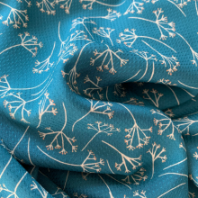 Viscose fabric Dandelions Petrol Blue