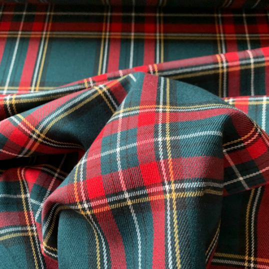 Pine green and red Tartan