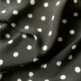 Black Viscose and white polka dots
