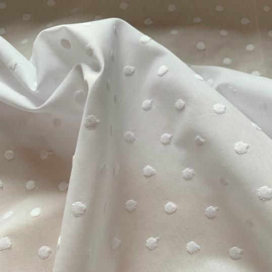 White Cotton fabric plumetis