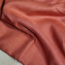 Plaid Viscose Sergé Terracotta Lurex Cuivré