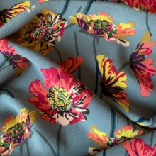 Viscose Crepe  Poppies