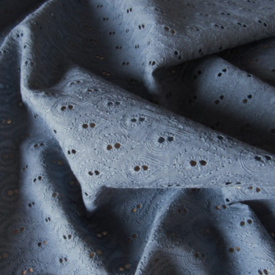 """Cobalt Blue Broderie Anglaise Cotton """"Feathers"""""""