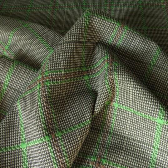 Jersey fabric Punto Milan Prince of Wales Green